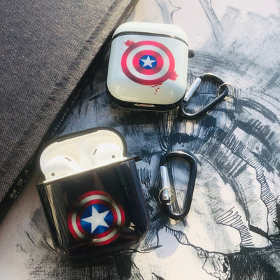 CAPTAIN AMERICA GLOSSY SILICONE AIRPODS CASE COVER FOR 1&2