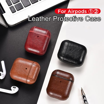 RETRO PLAIN LEATHER AIRPODS CASES 1&2