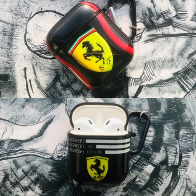 FERRARI GLOSSY SILICONE AIRPODS CASE COVER FOR 1-2