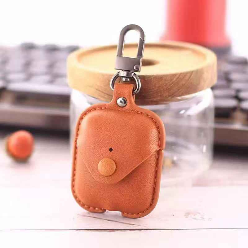 DESIGNER POUCH BUTTON LEATHER AIRPODS CASES - Hanging Owl