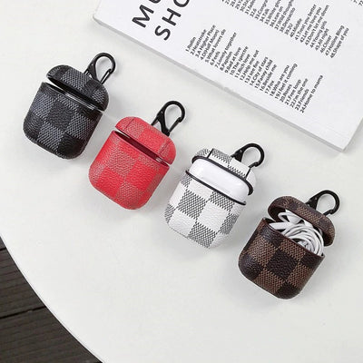 MIX DESIGNER SQUARE CHECKS PRINT LEATHER AIRPODS CASES
