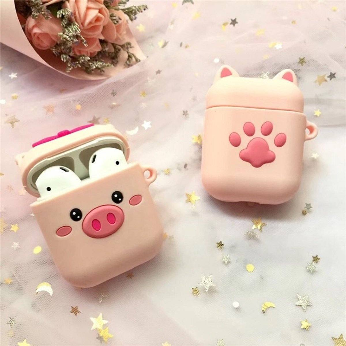 CUTE PIGLET & DOG PAW SILICONE AIRPODS CASE - Hanging Owl