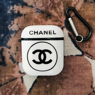 CHANEL GLOSSY SILICONE AIRPODS CASE COVER FOR 1&2