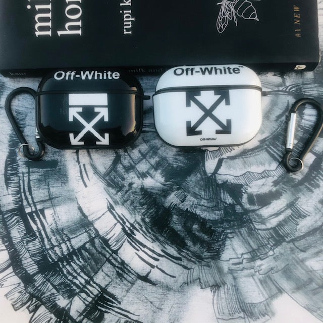 OFF-WHITE-BLACK GLOSSY SILICONE COVER FOR AIRPODS PRO