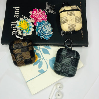 LV SQUARE CHECKS LEATHER AIRPODS CASE