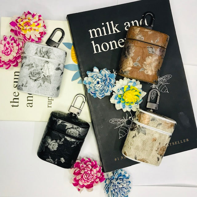 MATTE FLOWER PRINT LEATHER AIRPODS CASES