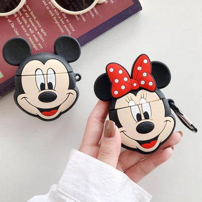 MICKEY & MINNIE FACE SILICONE AIRPODS CASES FOR 1-2