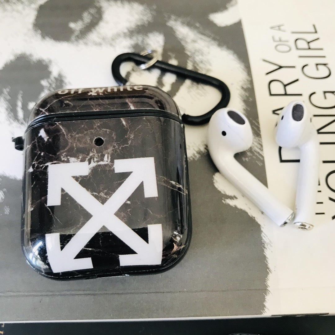 OFF WHITE GLOSSY SILICONE AIRPODS CASE COVER FOR 1&2 - Hanging Owl