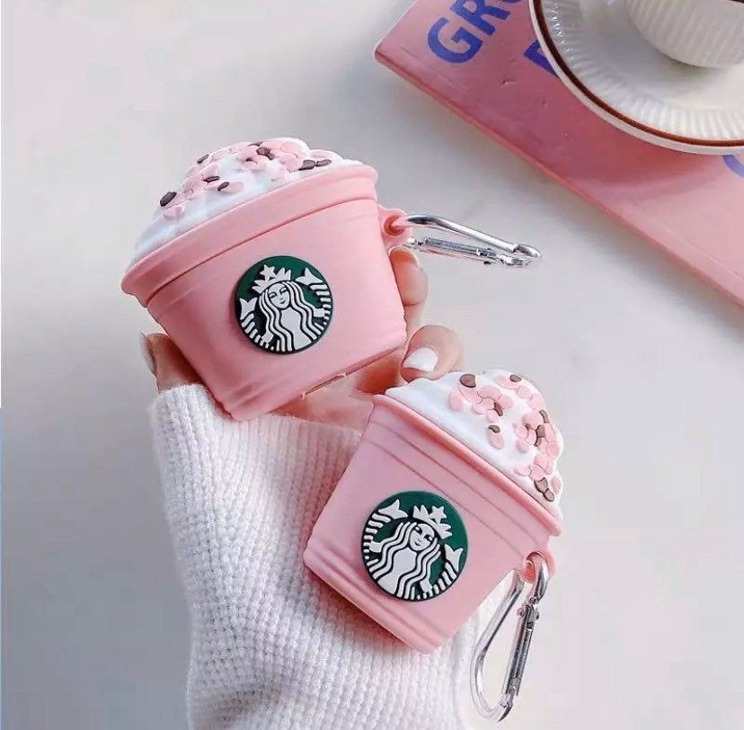 PINK STAR-BUCKS ICE-CREAM SILICONE AIRPODS CASE COVER FOR 1 & 2