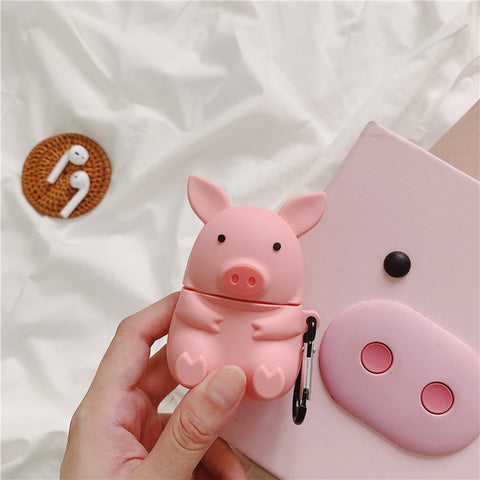 Pink Pigi Silicone Airpods Case Cover For 1 & 2