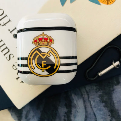 REAL MADRID GLOSSY SILICONE AIRPODS CASE COVER FOR 1&2