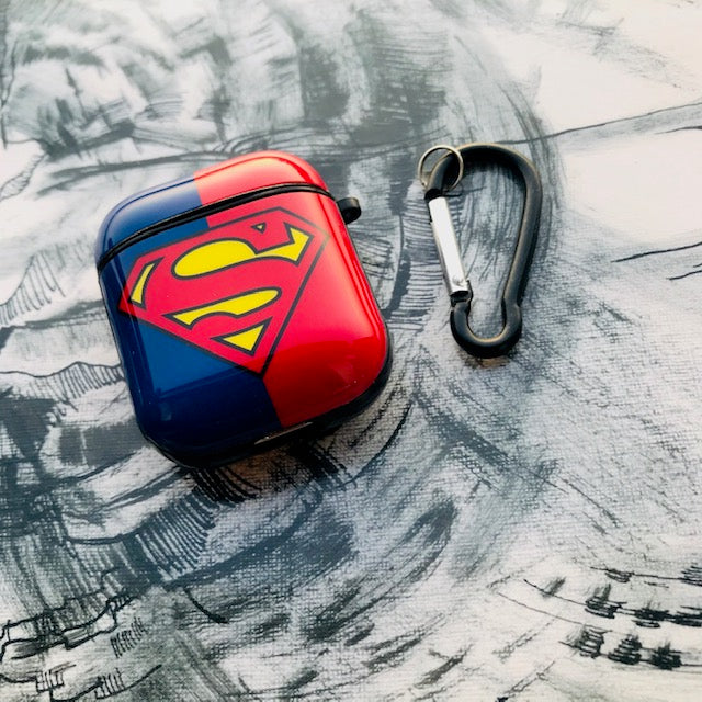 SUPERMAN GLOSSY SILICONE AIRPODS CASE COVER FOR 1-2