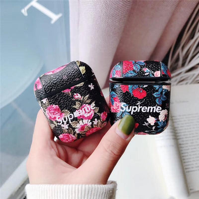 Supreme flower Pattern Leather Airpods Cover