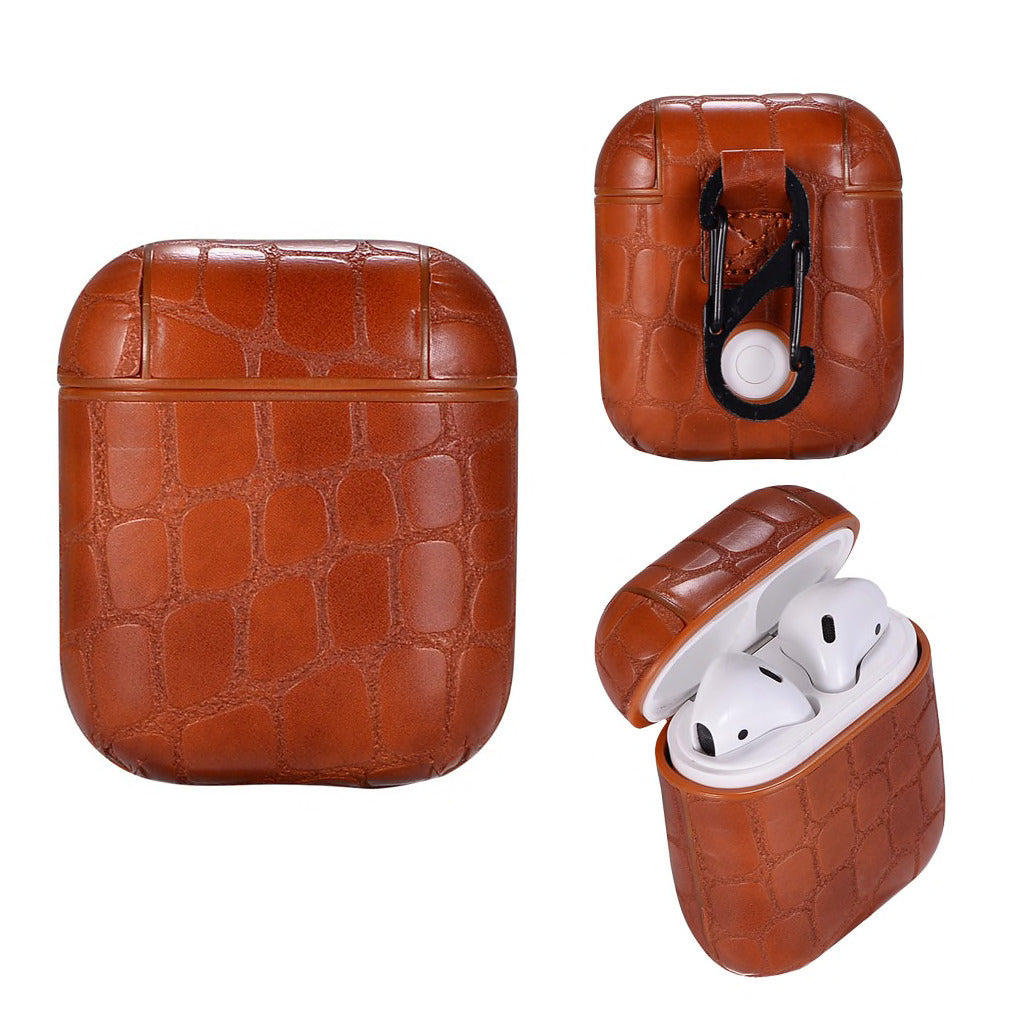 EMBOSSED CROCO CLOUDS LEATHER AIRPODS CASES - Hanging Owl