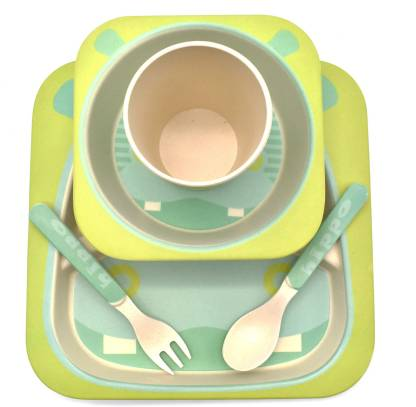 Bamboo Fiber Hippo 5 Piece Toddler Dinner Set (Green-Blue) - Hanging Owl