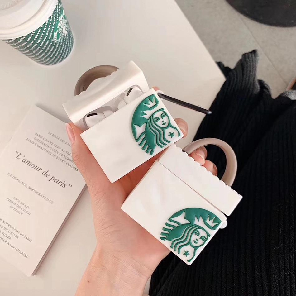 STARBUCKS BAG WHITE  SILICONE AIRPODS CASE COVER FOR 1-2 & PRO