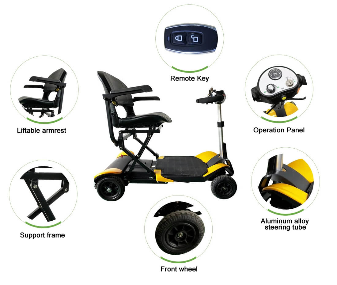 4wheel-folding electric scooter for elder