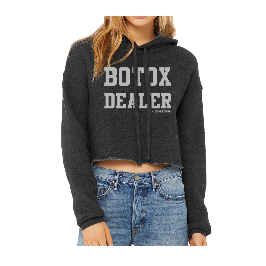 Botox Dealer Crop Hoodie in Dark Gray Heather