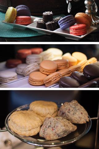 French macarons, petit fours, sconse