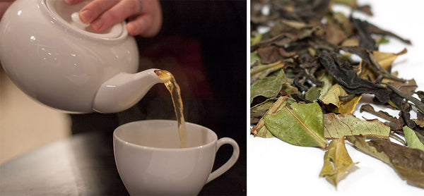 pouring tea, loose leaf tea