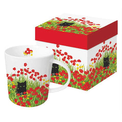 Kitty in the Poppies Mug
