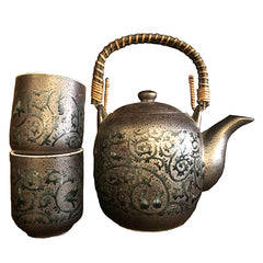 Kotobuki Iron/Oribe Arabesque Teapot Set