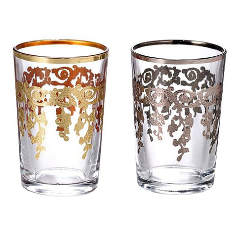 Moroccan Tea Glasses—Silver and Gold
