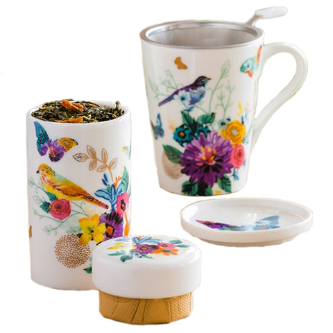 Brilliant Bouquet Infuser Cup and Tea Canister Gift Set