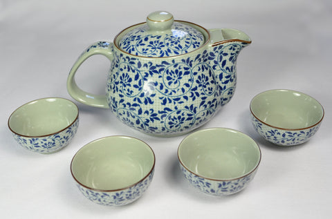 Floral Tea Set with Tiny Cups