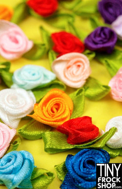 1 INCH - Barbie Mixed Color Rosette Trim With Leaves - Pack Of 12! - Tiny Frock Shop