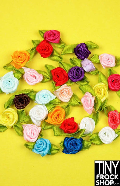 1 Inch - Barbie Sized Mixed Color Rosette Trim With Leaves - Pack Of 12! - Tiny Frock Shop