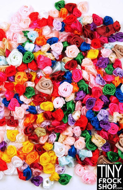10MM - 18MM - Barbie Mixed Color Rosette Trim - Pack Of 12! - Tiny Frock Shop