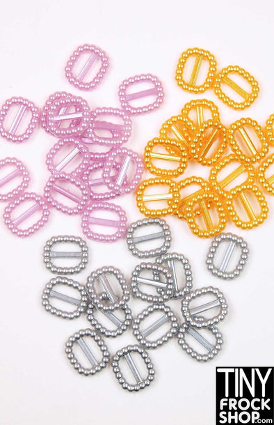 8mm - 12mm - Barbie Pearl Mini Buckles - Pack Of 2! - TinyFrockShop.com