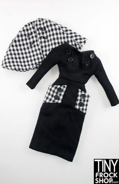 "16"" Gene Marshall Black Knit And Check Outfit - TinyFrockShop.com"