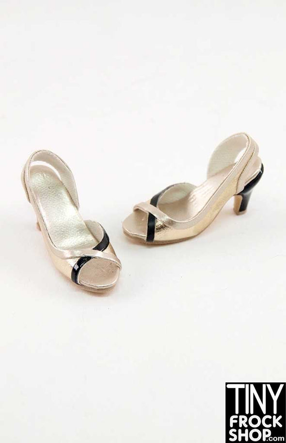 16 Inch Doll Black And Gold Vinyl Heels
