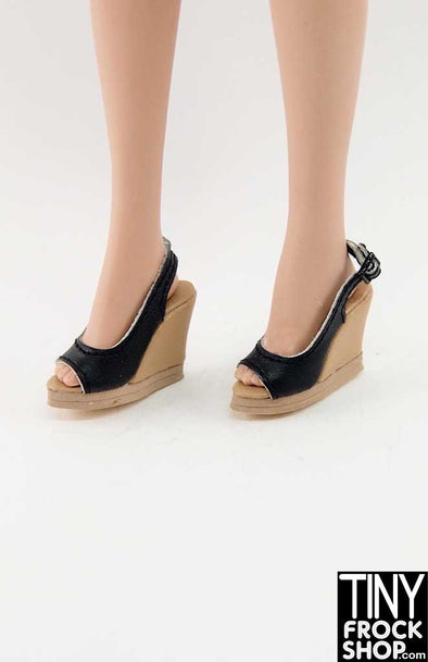 16 Inch Doll Black And Tan Wedge Heels