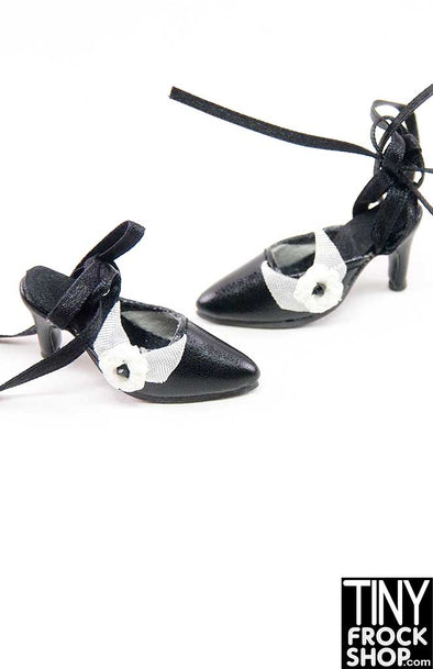 16 Inch Doll Black And White Flower Lace Up Heels