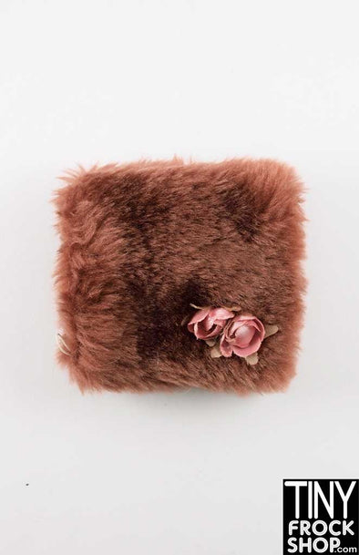 16 Inch Doll Brown Faux Fur With Flower Muff