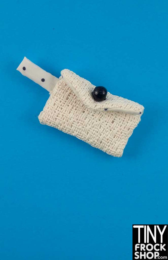 16 Inch Doll Crosshatch White And Navy Clutch Handbag