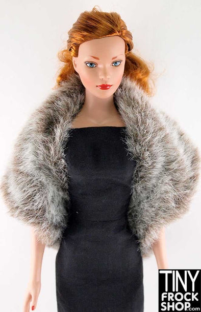 16 Inch Doll Modeled Neutral Faux Fur Wrap