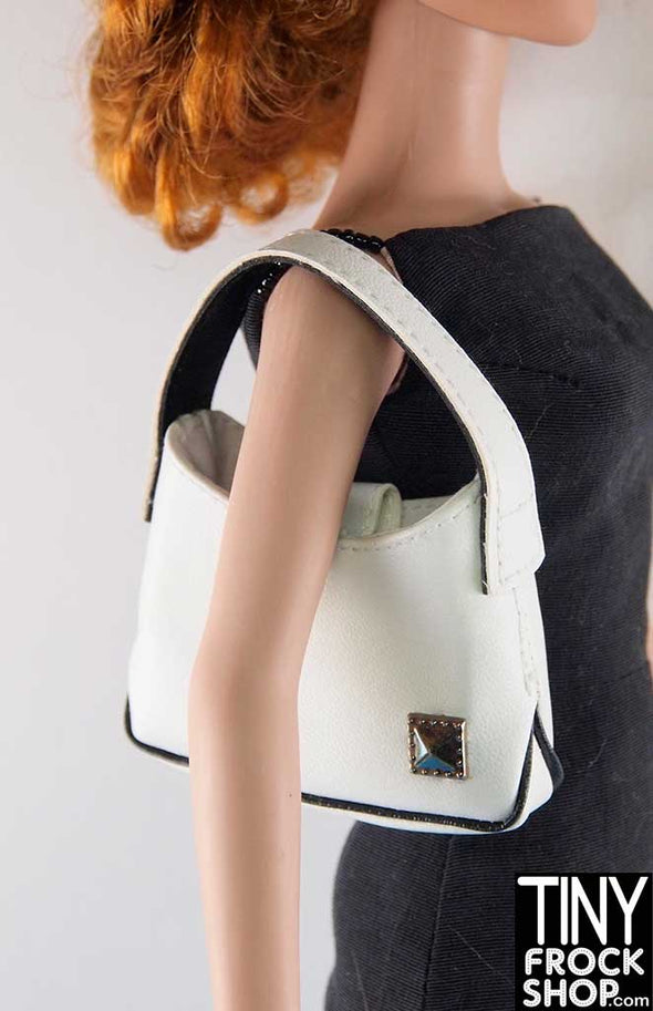 16 Inch Doll Nautical White And Black Vinyl Handbag