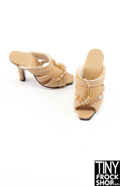 16 Inch Doll Tan Vinyl Beaded Slip On Heels