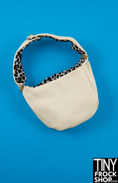 16 Inch Doll White Vinyl With Animal Print Handbag