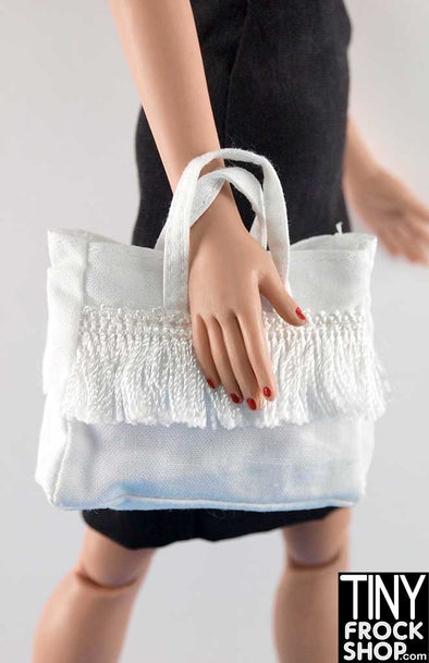16 Inch Doll White Fringe Bag