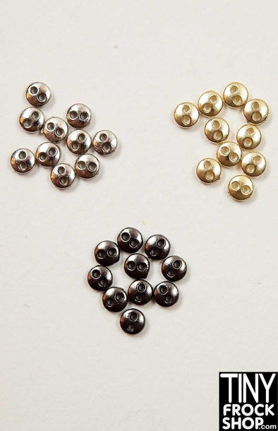 3MM Barbie SUPER Mini Metal 2 Hole Buttons - Pack of 12 Buttons - Tiny Frock Shop