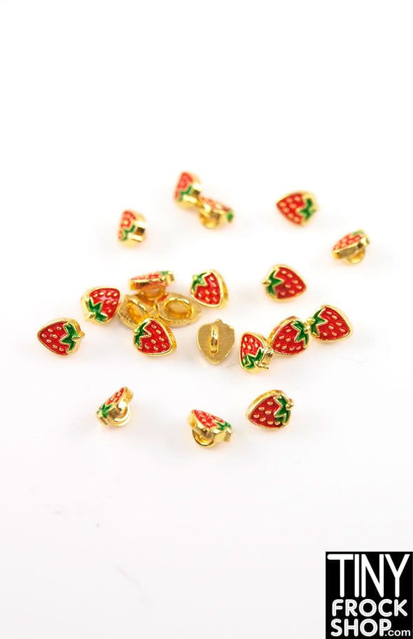 5mm Barbie Metal Enamel Strawberry Shank Buttons - Pack of 5 Buttons - More Colors