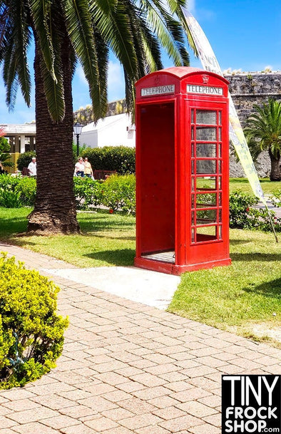 "A-146 (W) Barbie Photography Backdrop - Standard- Red Phone Booth - 12"" or 16"""