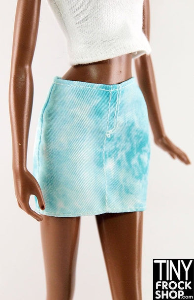 Barbie Blue Tye Dyed Twill Pencil Skirt