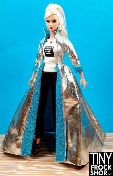 Barbie Avastars Silver Mylar and Blue Maximum Drama Coat - TinyFrockShop.com