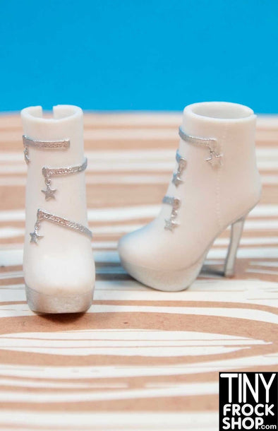 Barbie Avastars White Star Zip Boots - TinyFrockShop.com
